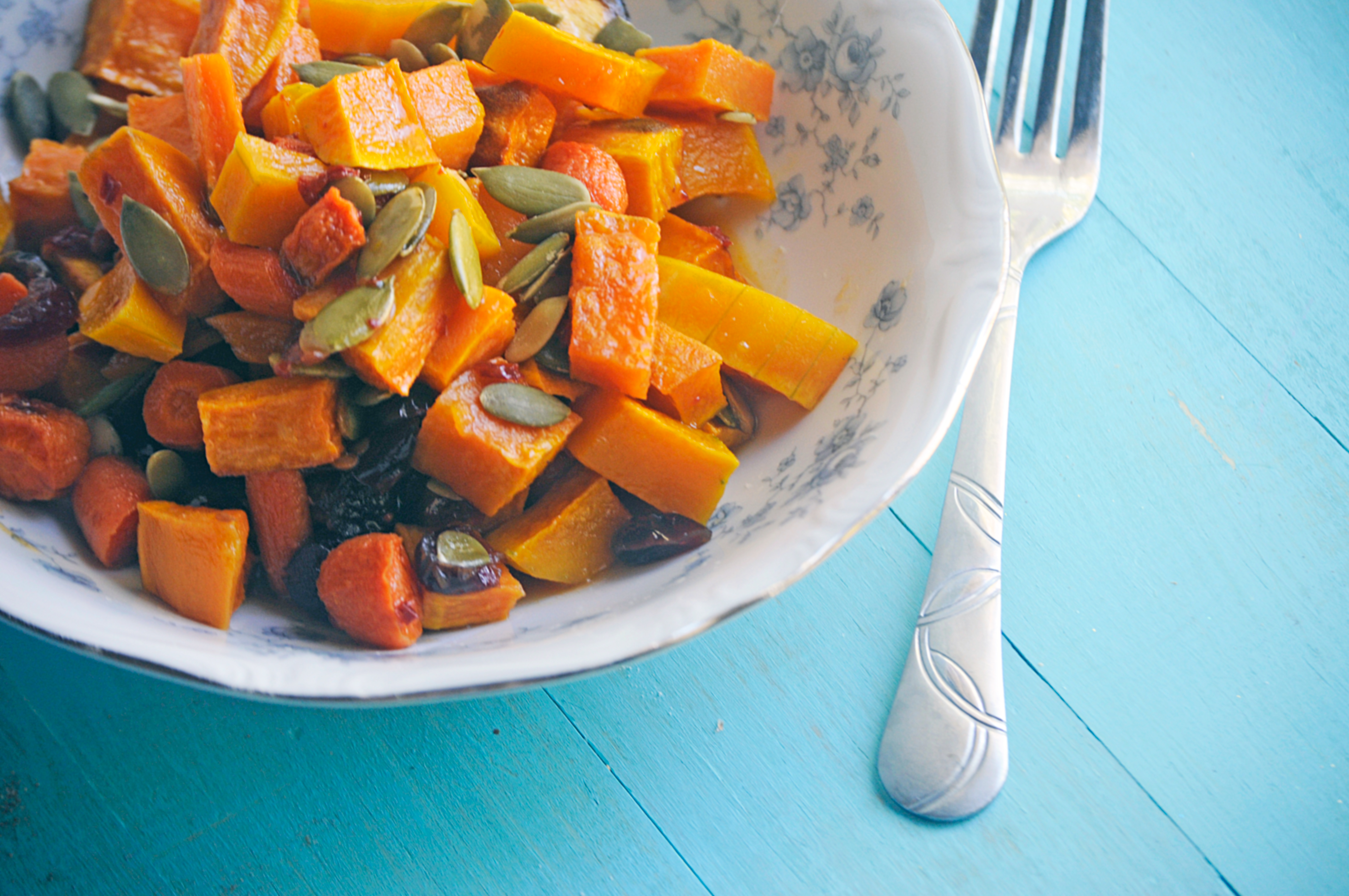 Roasted Fall Veggie Salad with Orange Chipotle Dressing
